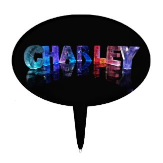 The Name Charley in 3D Lights Cake Pick