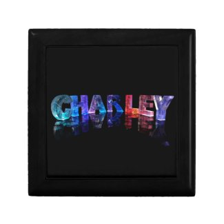 The Name Charley in 3D Lights Jewelry Box