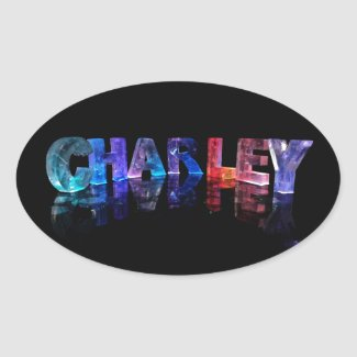 The Name Charley in 3D Lights Oval Sticker