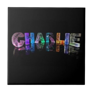 The Name Charlie in 3D Lights Ceramic Tile