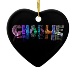 The Name Charlie in 3D Lights Christmas Ornaments