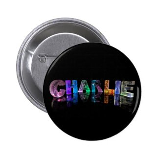 The Name Charlie in 3D Lights Pinback Buttons