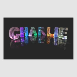 The Name Charlie in 3D Lights Rectangular Stickers
