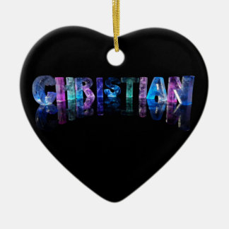 The Name Christian in 3D Lights Ceramic Heart Decoration