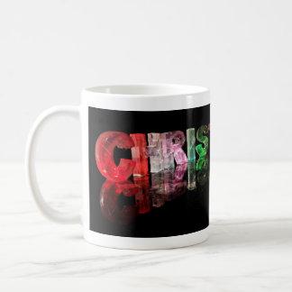 The Name Christopher in 3D Lights Basic White Mug