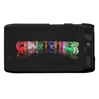 The Name Christopher in 3D Lights Motorola Droid RAZR Case