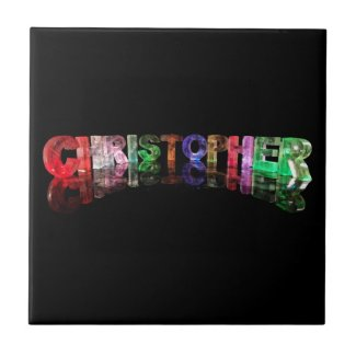 The Name Christopher in 3D Lights Ceramic Tiles