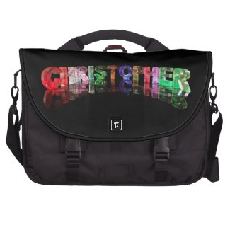 The Name Christopher in 3D Lights Laptop Bags