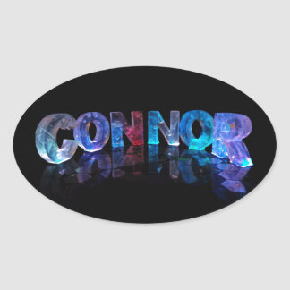 The Name Connor in 3D Lights Oval Sticker