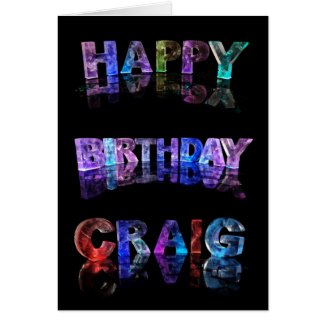 The Name Craig in 3D Lights Card