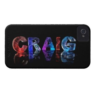 The Name Craig in 3D Lights iPhone 4 Cases