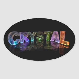 The Name Crystal in 3D Lights Oval Sticker