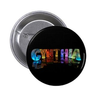 The Name Cynthia in 3D Lights Button