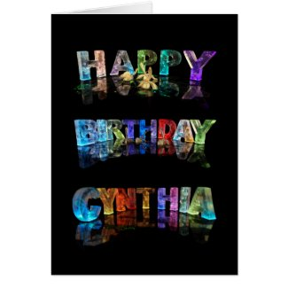 The Name Cynthia in 3D Lights Card