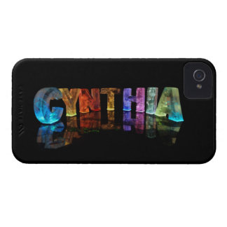 The Name Cynthia in 3D Lights iPhone 4 Cover