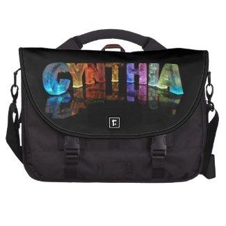 The Name Cynthia in 3D Lights Laptop Shoulder Bag