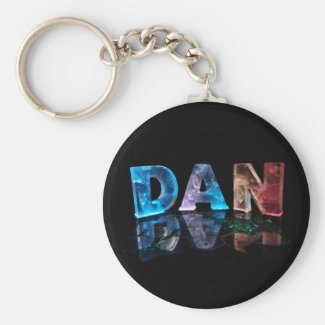 The Name Dan in 3D Lights (Photograph) Keychains