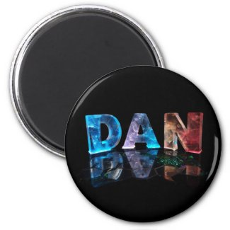The Name Dan in 3D Lights (Photograph) Magnets