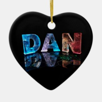 The Name Dan in 3D Lights (Photograph) Christmas Ornament