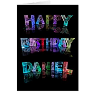 The Name Daniel in 3D Lights (Photograph) Greeting Card