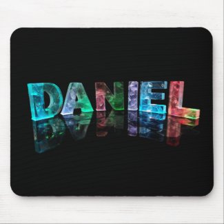 The Name Daniel in 3D Lights (Photograph) Mousepads