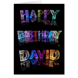 The Name David in 3D Lights (Photograph) Card