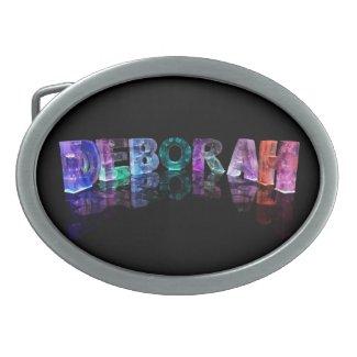 The Name Deborah in 3D Lights (Photograph) Oval Belt Buckle