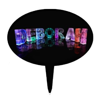 The Name Deborah in 3D Lights (Photograph) Cake Pick