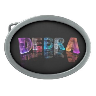 The Name Debra in 3D Lights (Photograph) Oval Belt Buckles