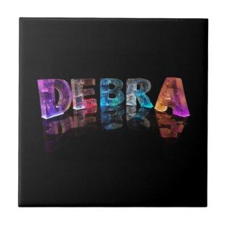 The Name Debra in 3D Lights (Photograph) Ceramic Tiles