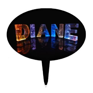 The Name Diane in 3D Lights (Photograph) Cake Topper