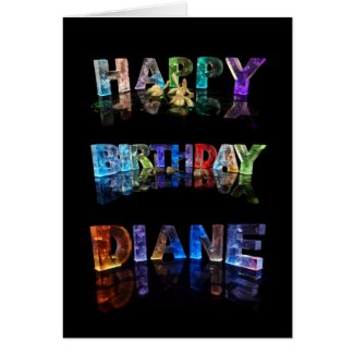 The Name Diane in 3D Lights (Photograph) Greeting Card