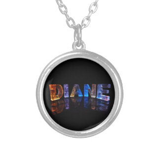 The Name Diane in 3D Lights (Photograph) Silver Plated Necklace