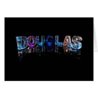 The Name Douglas in 3D Lights (Photograph) Greeting Cards