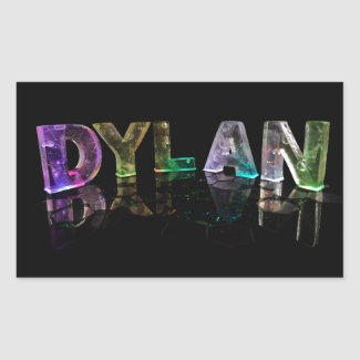 The Name Dylan in 3D Lights (Photograph) Rectangular Stickers