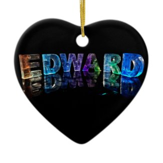 The Name Edward in 3D Lights (Photograph) Christmas Tree Ornaments