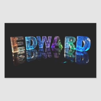 The Name Edward in 3D Lights (Photograph) Rectangle Sticker