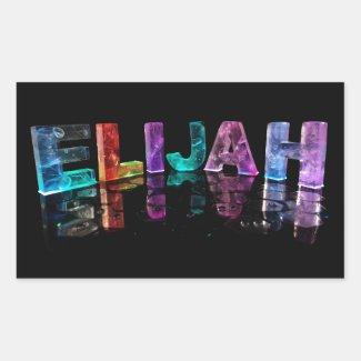 The Name Elijah in 3D Lights (Photograph) Rectangular Sticker