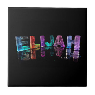 The Name Elijah in 3D Lights (Photograph) Tile