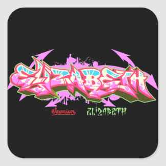 The name Elizabeth in graffiti-Sticker Square Sticker