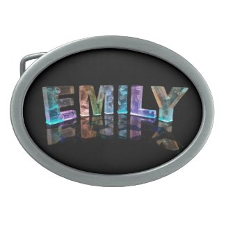 The Name Emily in 3D Lights (Photograph) Oval Belt Buckles