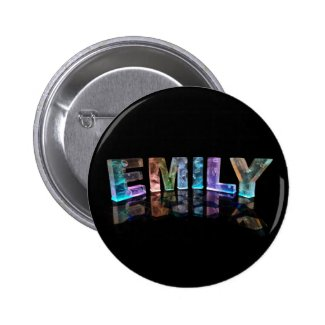 The Name Emily in 3D Lights (Photograph) Pinback Button