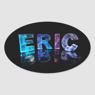 The Name Eric in 3D Lights (Photograph) Oval Sticker