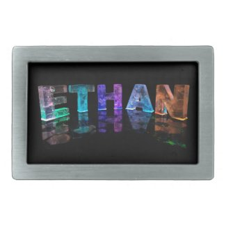 The Name Ethan in 3D Lights (Photograph) Rectangular Belt Buckle