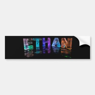 The Name Ethan in 3D Lights (Photograph) Bumper Stickers