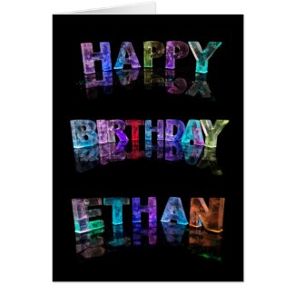 The Name Ethan in 3D Lights (Photograph) Greeting Cards