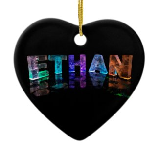 The Name Ethan in 3D Lights (Photograph) Christmas Tree Ornament