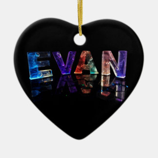 The Name Evan in 3D Lights (Photograph) Ceramic Heart Decoration