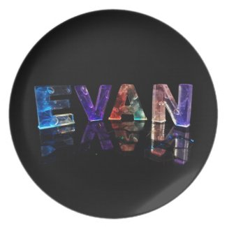 The Name Evan in 3D Lights (Photograph) Dinner Plate