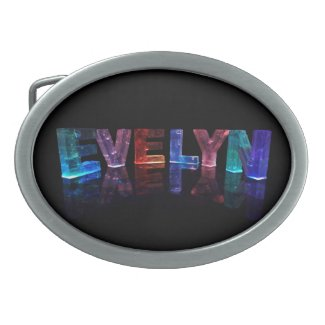 The Name Evelyn in 3D Lights (Photograph) Belt Buckle